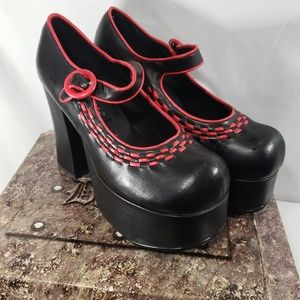 Demonia Charade-08 NWT Black w/Red Stitching Sz 9